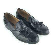 Stacy Adams Men Genuine Snake Skin 9.5 M Black Loafer Tassel Leather Dress Shoe