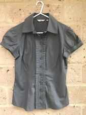🎀 CUE Women's Grey Cotton Business Blouse Shirt Cap Sleeve Ruffles Size 6 Work