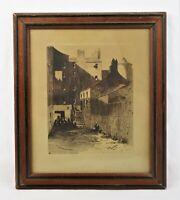 Antique 19th C J. Munro Bell - 1884 Etching Street Scene Edinburgh Scotland