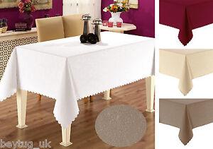 Round or Rectangular Fabric Tablecloths in White, Cream, Burgundy, Latte 3 sizes