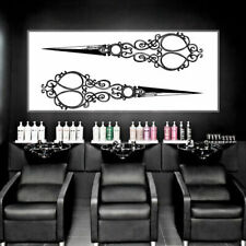 Wall Decal Hair Salon Scissors Retro Curls Vintage Barber Cosmetic M1534