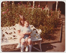 Vintage 70s PHOTO Girl Holding Little Boy On Lap Outdoors