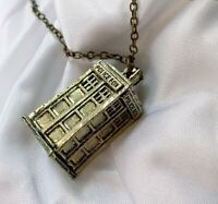 Doctor Who Inspired TARDIS Time Machine Police Box Bronze Necklace Pendant