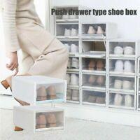 Push Drawer Type Shoe Box Shoe Organizer Drawer Transparent Plastic Storage 20