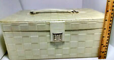 VTG LANCOME MAKEUP CARRIER LATE 1970'S EARLY 1980'S WHITE LATTICE LEATHER LOOK
