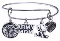 USA Army Mom and I love my Soldier Heart Charm Pendant Stainless Steel Bracelet