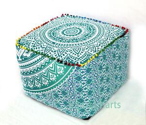 "18"" Multi Green Square Mandala Ottoman Pouf Cover Handmade Footstool Case Indian"