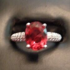 US SELLER WOMEN'S FASHION RED RUBY GEMSTONE RING SIZE 8 STAMPED 925 SOLITAIRE