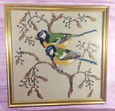 Birds in Tree Completed Needlepoint Framed Vintage Gold Square Frame 13 Inches