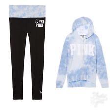 Victoria's Secret PiNK Zip Hoodie Sweatshirt Yoga PantS Leggings Tie Dye L NWT