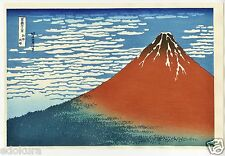 HOKUSAI Japanese OBAN WATANABE Woodblock Print Fine Wind, Clear Morning RED FUJI