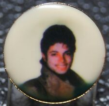 Vintage 1980's Michael Jackson Thriller Photo Portrait Pin - Round - Nice - Ncc