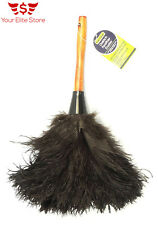 """Natural Ostrich Feather Duster Grab Professional Wooden Handle 14"""" Anti-Static"""
