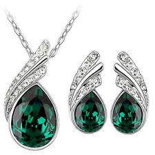 cristallo verde smeraldo Ali d'Angelo Set Gioielli Orecchini & COLLANA S760