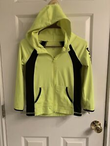 Girls Justice Active Lime Green/Black Front Zip Jacket With Hood-Size 6/7