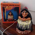 Vintage Halloween Ceramic Lighted Witch & Cauldron Brew Pot 1970's Era In Box