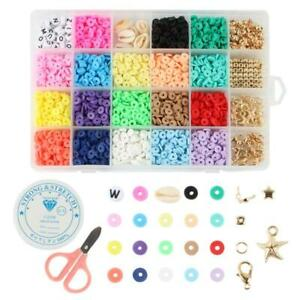 Flat Round Clay Beads 24 Grids DIY Earring Necklace Set Creative Handawork