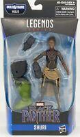 "NEW Marvel Legends Series Black Panther Shuri 6"" + BAF Hulk Leg Piece Figure."