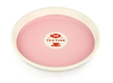 quadratisches Deko Tablett rosa Serviertablett 37x26 cm Metalltablett 52783
