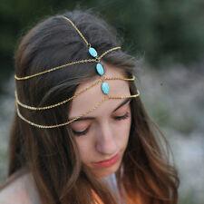 Boho Headband Metal headwear Bohemian Turquoise Multi Layer Tassel Head Chain