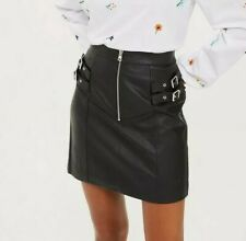 BNWT Topshop Size 8 Black Faux Vegan Leather Mini Skirt With Silver Buckles