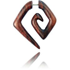 PAIR OF FAKE CHEATER PLUGS (4G HEADS) BROWN SONO WOOD LONG SPIRALS TRIBAL PLUG