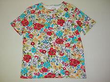 White Stag Tee Womens Multi-Color Floral Short Sleeve Crewneck T-Shirt SZ Medium