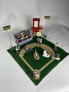 RARE Dept 56-Christmas in the City Baseball Set! 16 Total Pieces W/ Music *READ*