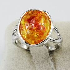 Amber Gemstone Fashion New  Jewelry 925 Silver Plated Men Women Ring Size 6