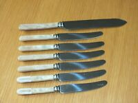 6 faux bone handles 6.5 inch butter knives Sheffield England Plus Cake Knife