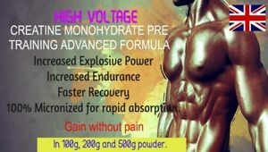 Creatine Monohydrate Powder HIGH VOLTAGE 100% MICRONIZED Gain Without Pain