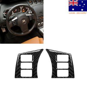 Carbon Fiber Steering wheel button Interior Sticker Trim For Nissan 350Z 2006-09
