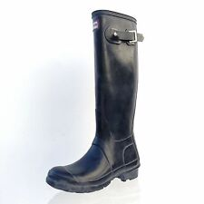 Hunter 'Original Gloss' Black Tall Rubber Rain Boots Size 5 M Men's/ 6 M Woman's