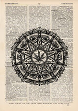 Indica Marjuana Mandala Quote Dictionary Art Print Alternative Marajuana Joint