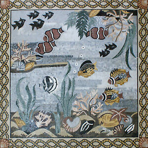 Deep Blue Ocean Sea Creatures Various Colorful Fish Marble Mosaic