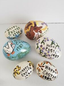 Vintage Hand Painted Ceramic Easter Eggs 1980's Lot Of 6