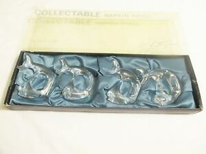 BIJAN Vtg Collectible Napkin Rings Clear Acrylic Fish (4) Mid Century Modern