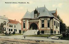 Westbrook Maine~Trolley Tracks by Memorial Library~1950s Postcard