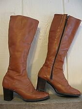 Vintage Revelations by Desco--BROWN LEATHER KNEE HIGH BOOTS- Lined Side Zip-5M