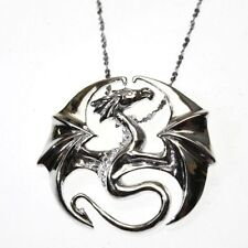 Draco Dragon Sterling Silver 925 Pendant Necklace Anne Stokes Mythical Companion
