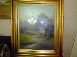 Antique English Pastoral Landscape Painting J.B. Mead 1914