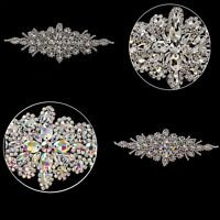 Silver Diamante Rhinestone Sewing Applique Motif Patch for Wedding Bridal Dress