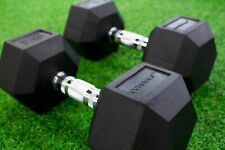 Hex Iron Dumbbells 17.5-27.5KG Pairs Rubber Incased Home Fitness Gym