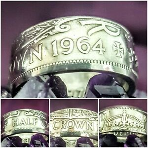 57th birthday present 1964 Halfcrown  Coin Rings