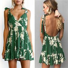 Women Summer Beach Backless Dress Shirt Dresses Ladies Sleeveless Party Tops