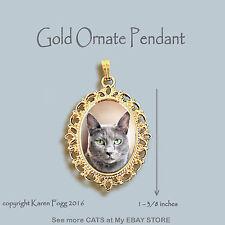 Russian Blue Cat - Ornate Gold Pendant Necklace