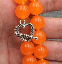 Huge 12mm Natural Orange Jade Round Gemstone Beads Necklace 18''