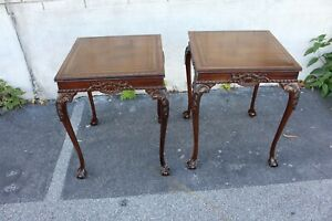 Pair of Chippendale Leather Top Carved Solid Mahogany Tables, c. 1920