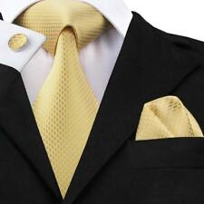 Mens Tie Yellow Novelty Silk Necktie Classic Hanky Cufflinks Business SN-1540