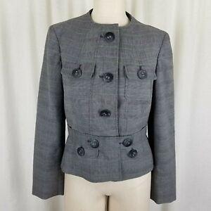 Anne Klein Stretch Plaid Cropped Collarless Belted Blazer Field Jacket Womens 4